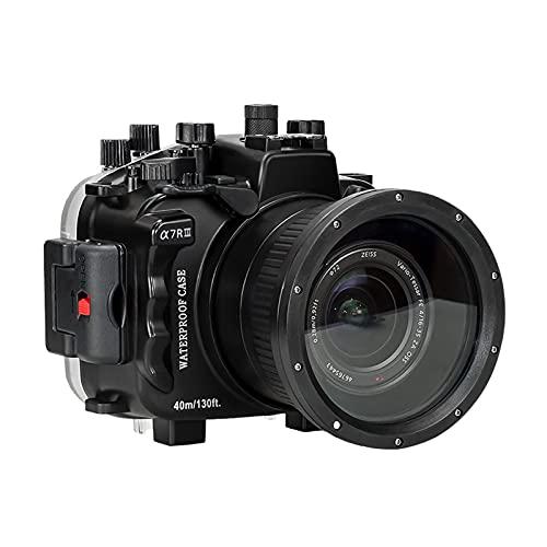 Baugger Tampa da caixa de mergulho à prova d'água 40m / 130 pés Substituição subaquática para câmera Sony A7RIII lente 16-35mm