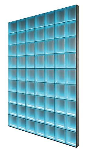 Fuchs Design Light My Wall® beleuchtete Glassteinwand 136,5x175,5 cm - DIY - Wolke Weiß 1-seitig satiniert Weiß 19x19x8 cm Beleuchtung Bunt (Farbwechsel) - Aluminium satiniert - Raumteiler Duschwand