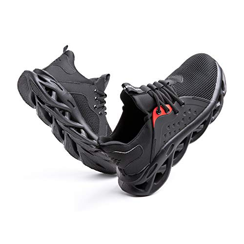 Sicherheitsschuhe Herren Arbeitsschuhe Damen Leicht Sneaker Sportlich Stahlkappe Schutz Stahlkappe Turnschuhe Wandern Stiefel Mesh G-Schwarz EU43