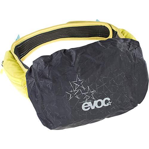 EVOC RAINCOVER SLEEVE HIP PACK Regenschutz Regenjacke für 3-7 Liter Hüfttaschen für Outdoor-Aktivitäten (Größe: M, wasserfest, reflektierender Logo-Druck), Farbe: Schwarz