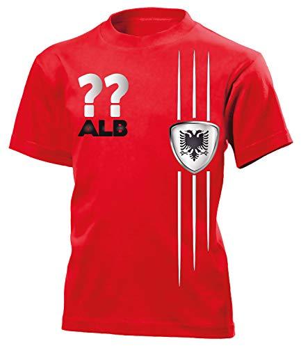 Albanien Albania Shqipëri Wunsch Zahl Fanshirt Fussball Fußball Trikot Look Jersey Kinder Kids Unisex t Shirt Tshirt t-Shirt Fan Fanartikel Outfit Bekleidung Oberteil Hemd Artikel