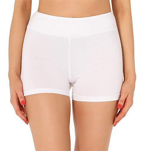 Merry Style Damen Shorts Radlerhose Unterhose Hotpants Kurze Hose Boxershorts aus Baumwolle MS10-359(Weiß,S)