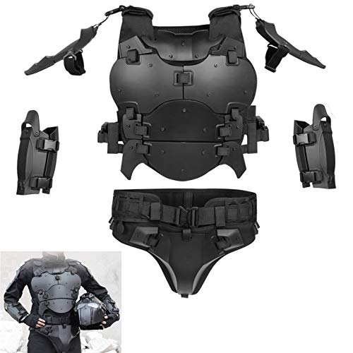 WoSporT Airsoft Vest Body Armor Vests Adjustable Tactical Molle Chest Protector +Elbow+Shoulder+Crotch+Battle Belt Set Paintball Military Combat Training Gear Motorcycle Cosplay Movie Costumes-Black