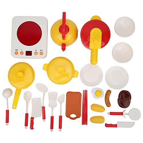 GOTOTOP 25Pcs/Set Play Kitchens Accessories Toys Set, Pretend Play Kitchen Dish Set Cooking Play Set Learning Toys for Kids Girls Boys(#1)
