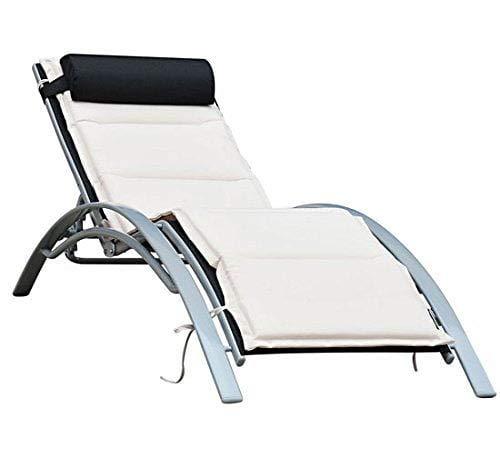 miozzi Lettino Chaise Longue da Giardino da Giardino Poltrona Relax Reclinabile in Alluminio 170x64x80 cm