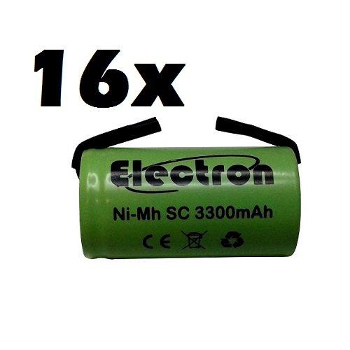16 x Ni-MH SC 3300 mAh 3.3Ah 1,2 V met soldeerlamellen voor batterijen, boormachines, zaklampen