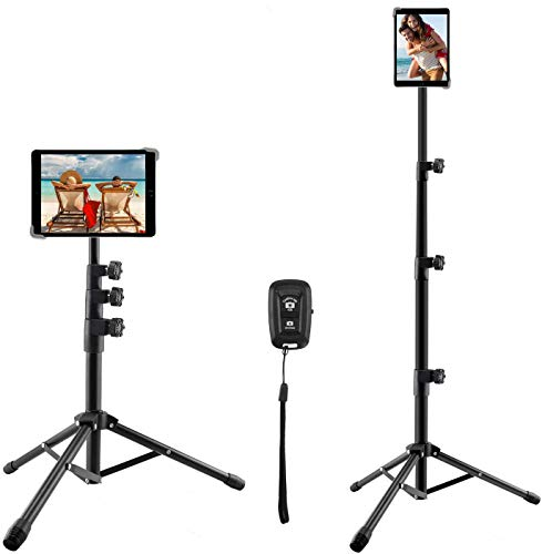 Tablet Tripod Stand, Indoor Outdoor Portable 360° Rotation Floor Tablet Holder, 56 Inch Extendable Tablet Stand for All 9.5'-14.5' Tablets
