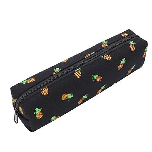 Pineapple Pencil Case Zipper Canvas Pen Pouch Bag for Women Men Girls Boys Kids Teens (Black)