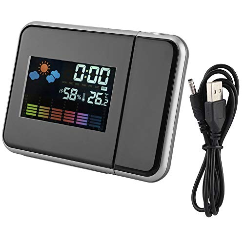 Projectie wekker weerprojector, digitale led weersvoorspelling projector kalender vochtigheid display wekker met dimmer, achtergrondverlichting, USB-lading (zwart)