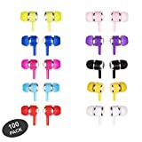 JustJamz Marbles Colorful Earbud Headphones in Bulk 3.5mm Earbuds for Kids and Adults Assorted Colors (100 Packs)