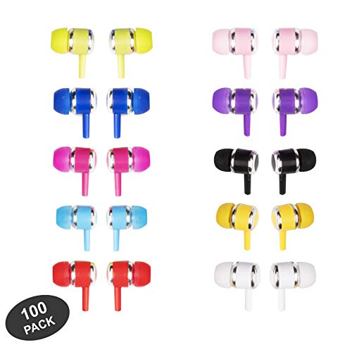 JustJamz Marbles Colorful Earbud Headphones in Bulk 3.5mm Earbuds for Kids and Adults Assorted Colors, 100 Pack