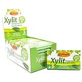 Xylitol Goma de mascar menta verde, chicles dentales, 100% sin azúcar, caja de 24 blisters (12 piezas por blister), sin aspartamo, vegetariana, amigable con los dientes