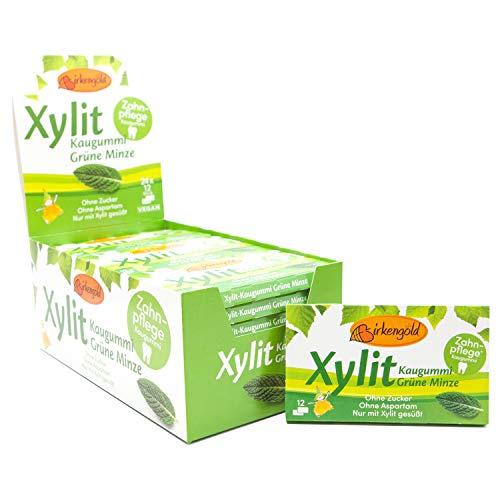 Birkengold Xylit Kaugummi Grüne Minze | 24 Stk. Blister | Zahnpflege-Kaugummi | zuckerfrei | hoher Xylit-Anteil von 70 % | vegan | ohne Titandioxid | ohne Aspartam