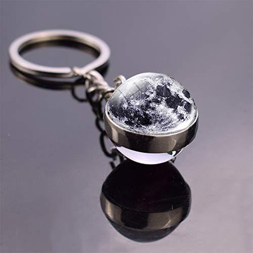 HGFJG Schlüsselanhänger Erde mit Mond Glaskugel Anhänger Globus Karte Schlüsselanhänger Schlüsselanhänger
