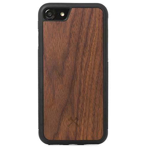 Woodcessories - Bumper Hülle kompatibel mit iPhone SE 2020 Hülle Holz, iPhone 8 Hülle Holz, iPhone 7 Walnuss
