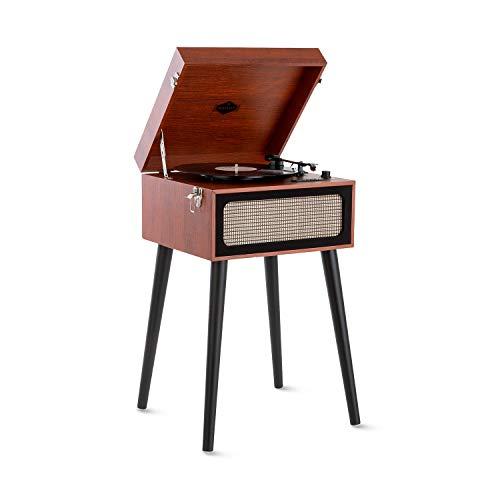 auna Sarah Ann Plattenspieler, für Schallplatten mit 33, 45 und 78 U/min, Koffer-Design mit abnehmbaren Beinen, Stereolautsprecher, USB-Anschluss, SD-Card-Steckplatz, Bluetooth, braun