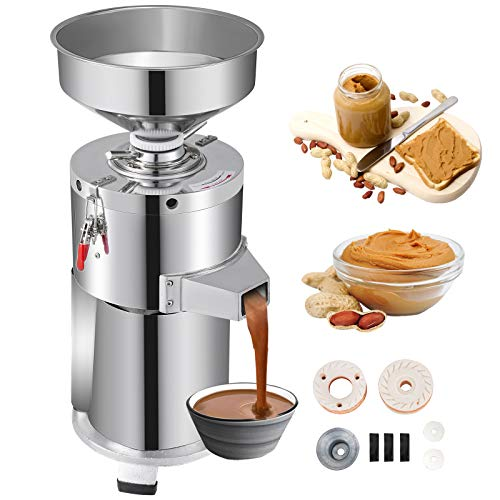 VBENLEM 110V Commercial Machine 15000g/h Stainless Steel Grinder Electric Perfect for Peanut Sesame Walnut Butter, 11.80 x 28.00 x 11.80 in, Silver