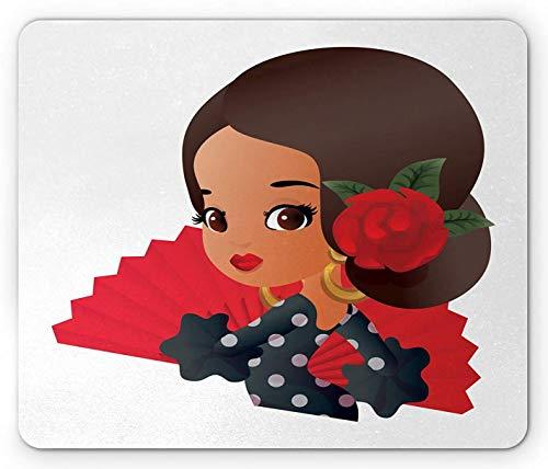 Spanisches Mauspad, Chibi-Charakter im Flamenco-Kostüm mit Rosenblüte auf ihrem Haarmädchen-Cartoon, Rechteck-Rechteck-Rutschgummimousepad, mehrfarbig
