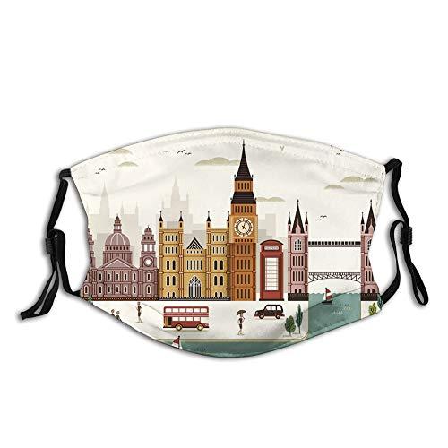 ComfortablePrintedmask,London, Travel Scenery Famous City England Big Ben Telephone Booth Westminster,CreamWindproofFacialdecorationsformanandwoman