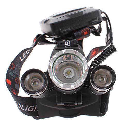 Grundig LED Stirnlampe mit Rotlicht, 3 ultrahelle Power LED, 4 Funktionen, Kopflampe für Sport & Freizeit