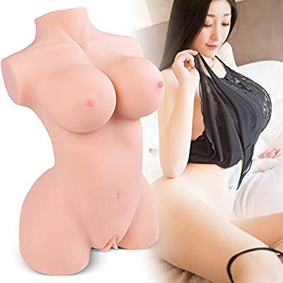 Japanese Life-Sized Adult Toy Women Torso Sex Doll for Men Male Masturbator Pussy Ass with Skeleton-3D Lifelike Sex Toys with Vagina and Anal TPE Doll Silicone Doll for Male with D-Cup Breast Play Fun