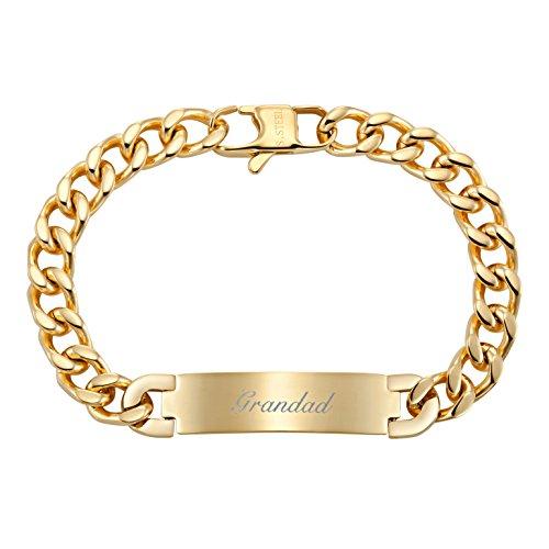 Willis Judd Men's Grandad Stainless Steel ID Curb Link Bracelet Engraved Love You Grandad
