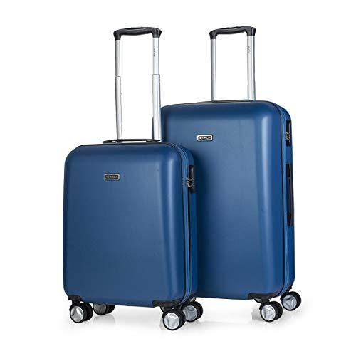 ITACA - 2-delige kofferset met harde schalen cm ABS. 4 wielen. Robuust en licht. hangslot. 2 groottes: cabine koffer en middelgroter. T58015, kleur