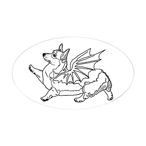 CafePress–Welsh Corgon–Linie Zeichnen–Aufkleber (Oval)–oval Bumper Sticker KFZ Aufkleber, weiß, Large - 4.5x7.5