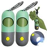 Distributeur de sacs à déjections canines avec lampe de poche LED intégrée et clip en métal pour laisse, 2 supports de sac à déjections canines, accessoire de promenade du chien, vert menthe