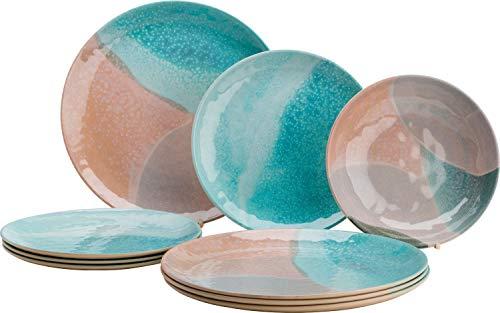 Flamefield Dunes and Sea - Vajilla de melamina (12 piezas), varios colores