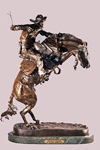 American Handmade Bronze Sculpture Statue Bronco Buster By Frederic Remington Medium Size