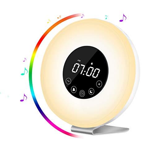 Wake Up Licht Lichtwecker, AUELEK LED wecker, Kinderwecker, Radiowecker, FM Radio, Nachtlicht, Tageslichtwecker, mit zwei Alarmen, 7 Farbige LED Lichter, 6 Alarm Töne, 10 Helligkeitsstufen