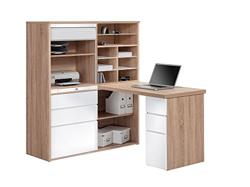 MAJA Möbel Minioffice, Sonoma-eiche-Grau Hochglanz, 126,60 x 187,00 x 150,00 cm