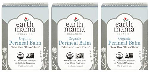 Organic Perineal Balm by Earth Mama | Naturally Cooling Herbal Salve for Pregnancy and Postpartum Relief, 2-Fluid Ounce (3-Pack)