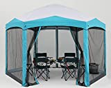 COOSHADE Pop Up Camping Gazebo 6 Sided Instant Screened Canopy Tent Outdoor Screen House Room(12x10Ft,White)