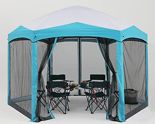 COOSHADE Pop Up Camping Gazebo 6 Sided Instant Screened Canopy...