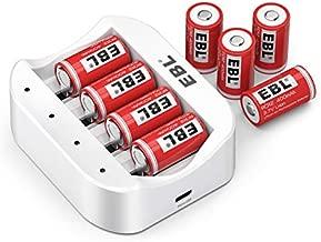 EBL CR2 Rechargeable Batteries, 3.7V Lithium Photo Batteries 8 Pack with Rechargeable Battery Charger