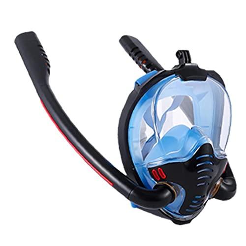 Máscara del Tubo respirador, Anti-Niebla Seca Snorkel Set para Las inmersiones Libres y Natación, Profesional Equipo de Snorkel Hombres Mujeres Niños Anti-Fugas Azul Negro L XL