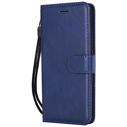 Compatible con Xiaomi Mi A2 Lite PU Cartera de Cuero Funda con Soporte para Tarjeta Soporte Magnético con Tapa Funda Protectora móvil para Redmi 6 Pro/Mi A2 Lite Blue Leaf SD