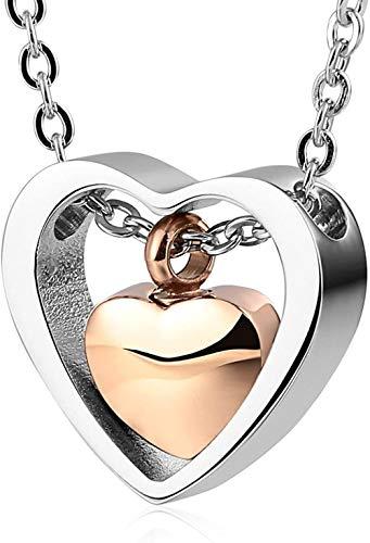 VVHN Collar Joyas Acero Inoxidable Hombres Mujeres Collar Gris Doble corazón Hueco Pulido Collar de Cadena de Dos Tonos