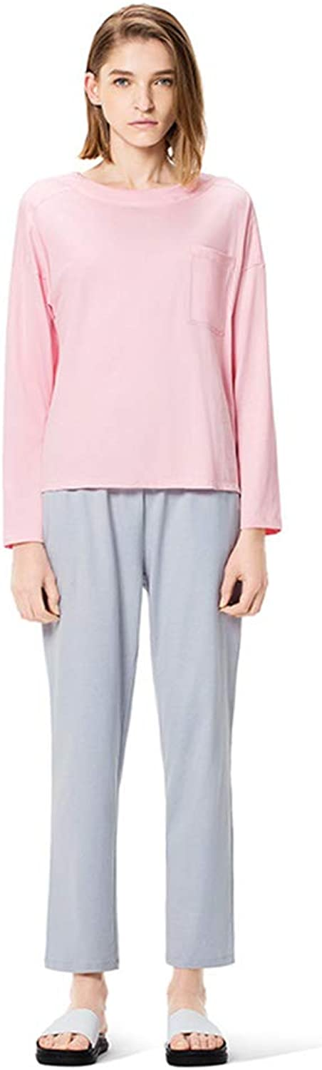 Lingerie, Sleep & Lounge Women's Pajamas Casual wear Spring and Autumn Cotton Loose Large Size can be Home Set Skin Soft Cotton Long Sleeve Suit (color   Pink, Size   L)
