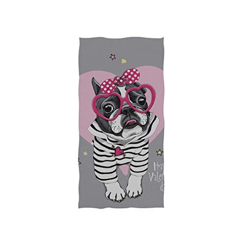 Zaqiwa Towels for Kids Card Valentines Day French Bulldog Striped Soft Towel Fingertip Hand Towel for Baby Bathroom Shower Wrap Gym Sport 30x15 Inch Xs Gym Towel