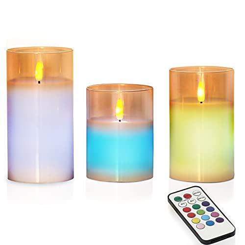 Flameless Candles Flickering Battery Operated Candles LED Candles Lamp, Flashing, Lasting, Wedding, Festival, Home Decoration Acrylic LED Pillar Candles with Remote Control and Timer - 3 Packs