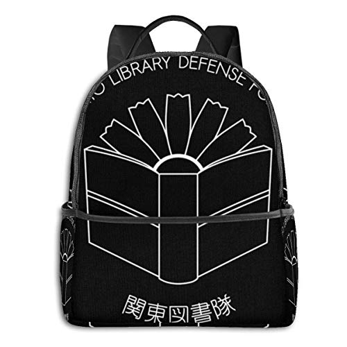 IUBBKI Mochila lateral negra Mochilas informales Anime & Kanto Library Defense Force Student School Bag School Cycling Leisure Travel Camping Outdoor Backpack