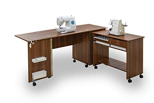 Comfort 7 | Sewing Machine Cabinet Overlock Desk Hobby Storage Craft Table | (Oak Sorano Natural Light)