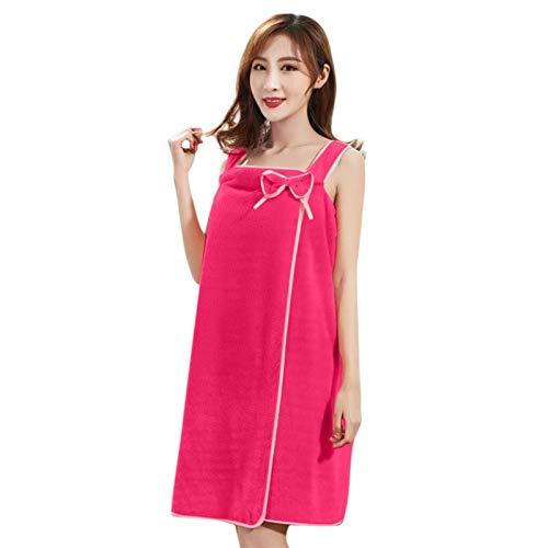 Cotone Accappatoio Donne Pigiama asciugamani da bagno di moda della signora Girls Wearable rapida essiccazione tovagliolo di bagno pannello esterno della spiaggia ( Color : Red , Size : 80cm x 135cm )