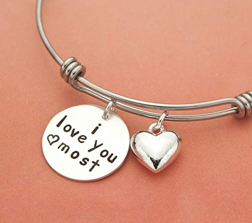 I Love You Most Expandable Bangle Bracelet, Stainless Steel and Sterling Silver, Graduation, Birthday Gift for Her