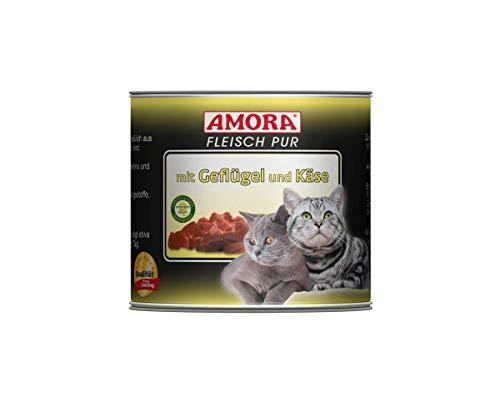 Amora Cat Fleisch pur mit Geflügel+Käse | 6 x 200g Katzenfutter nass