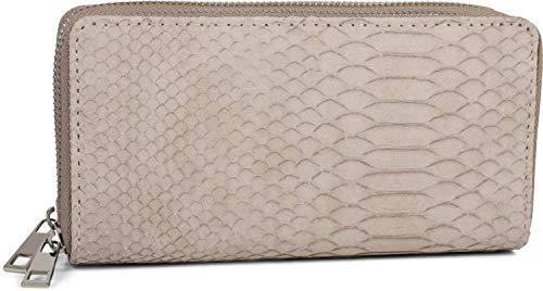 styleBREAKER Damen Geldbörse in Krokodilleder Optik, 2 umlaufende Reißverschlüsse, Portemonnaie 02040126, Farbe:Beige