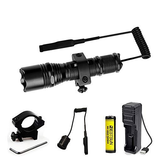 BESTSUN Linterna LED táctica Súper brillante a prueba de agua Potente linterna LED 1200 lúmenes Luz de caza de 1 modo con interruptor de presión y rifle de riel para Picatinny AR (batería incluida)